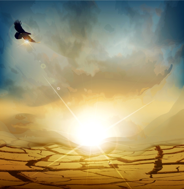 vector desert landscape with rising sun and an eagle flying high